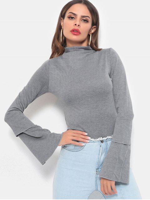 shops High Neck Layered Sleeves Knitted Top - GRAY CLOUD L Mobile