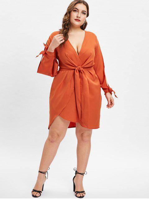 shop ZAFUL Plunge Plus Size Split Sleeve Tied Dress - CHOCOLATE 2X Mobile