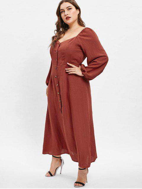 latest ZAFUL Sweetheart Neck Plus Size Long Sleeve Dress - CHESTNUT RED L Mobile