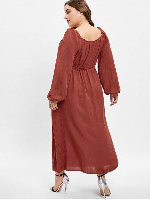 trendy ZAFUL Sweetheart Neck Plus Size Long Sleeve Dress - CHESTNUT RED 1X Mobile