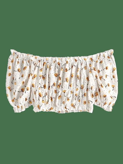 affordable ZAFUL Floral Print Off Shoulder Crop Blouse - WHITE XL Mobile