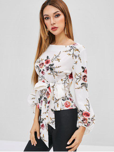 outfits Self-tie Floral Blouse - WHITE M Mobile