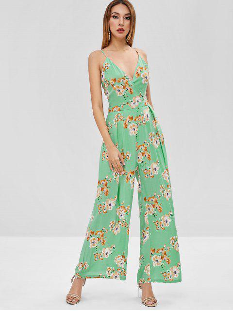 Combi-Pantalon à Bretelle Fleuri Imprimé à Jambe Large - Vert Algues L Mobile