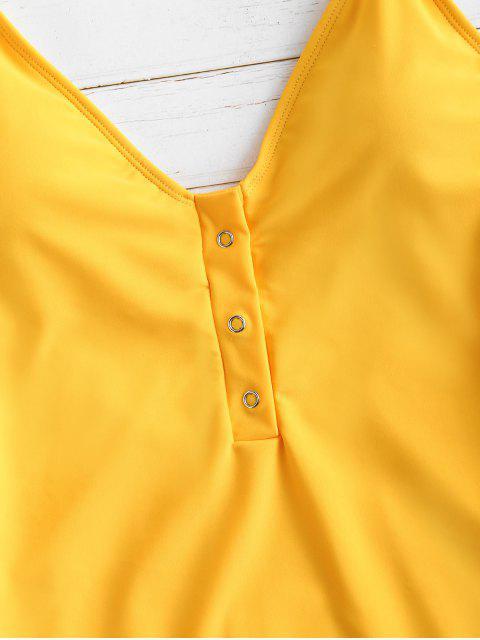 ZAFUL Snap Button Backless traje de baño de pierna alta - Amarilla de Abeja  M Mobile
