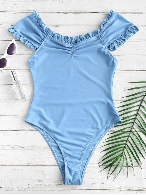 womens ZAFUL Off Shoulder Frill Ruched Swimsuit - CORNFLOWER BLUE S Mobile