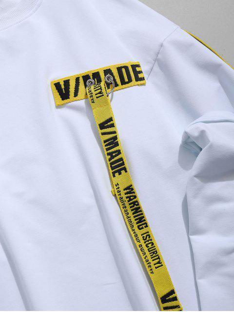 編織腰帶裝飾拼布T卹 - 白色 XL Mobile