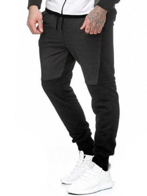 Pantalones Lana Empalme Bloque Color y Cordones - Gris S Mobile