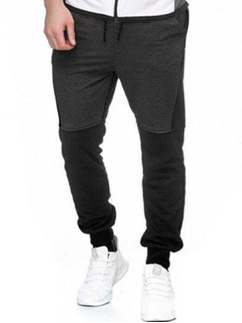 Pantalones Lana Empalme Bloque Color y Cordones - Gris M Mobile