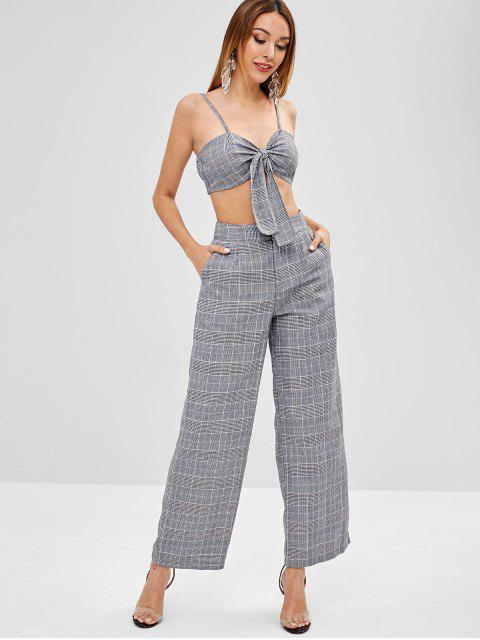 ladies ZAFUL Tie Front Plaid Top And Pants Set - MULTI L Mobile