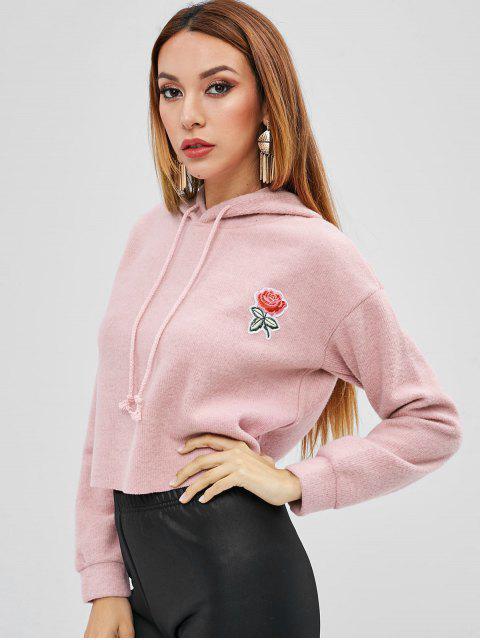 Sweat à Capuche Fleuri Applique - Rose  S Mobile