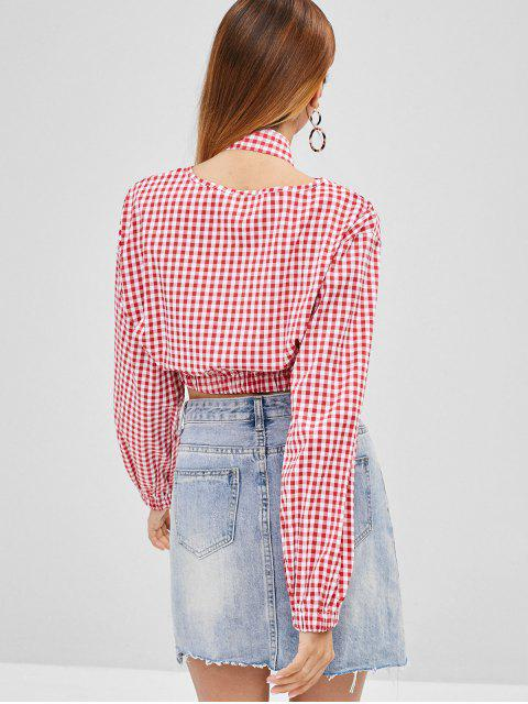 affordable Gingham Crop Top - RED L Mobile