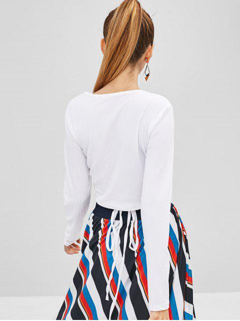 online Cropped Wrap Top - WHITE L Mobile
