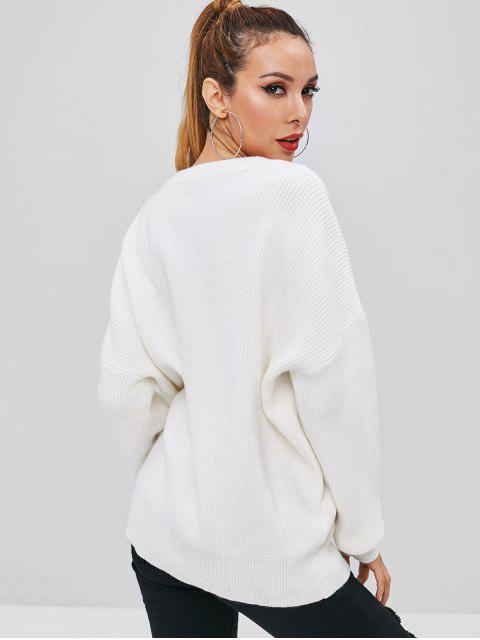 online Drop Shoulder Oversized V Neck Sweater - MILK WHITE ONE SIZE Mobile