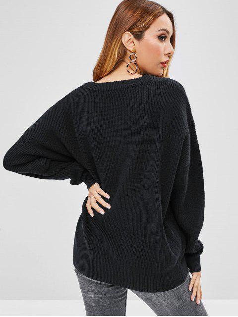 shops Drop Shoulder Oversized V Neck Sweater - BLACK ONE SIZE Mobile