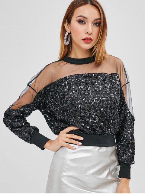Haut Panneau en Voile à Demi-zip à Paillette - Noir Taille Unique Mobile