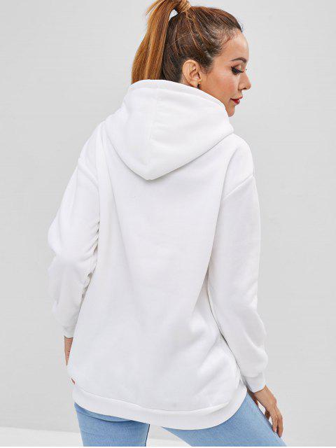 Sweat à Capuche Graphique avec Poche Kangourou - Blanc Lait 2XL Mobile