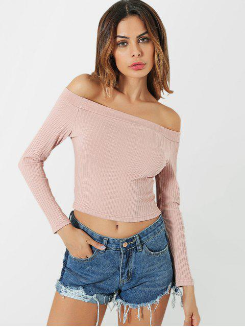 hot Knitted Off Shoulder Crop Tee - PINK S Mobile