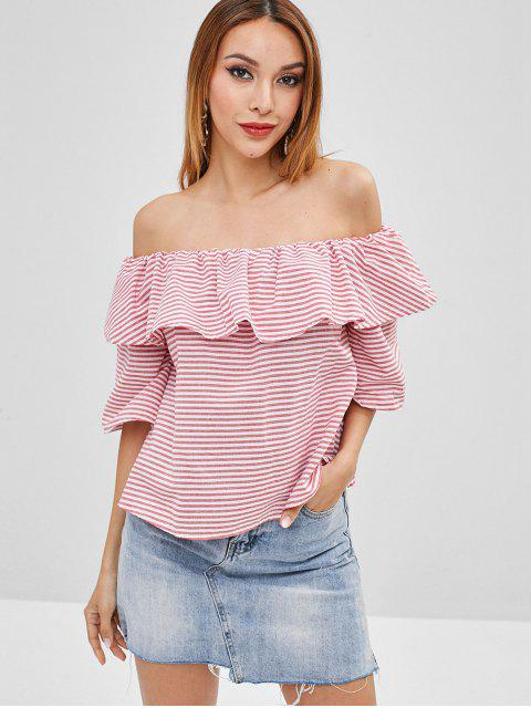 shops Ruffle Striped Off The Shoulder Top - PIG PINK M Mobile