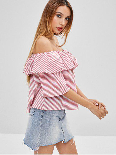 outfits Ruffle Striped Off The Shoulder Top - PIG PINK S Mobile
