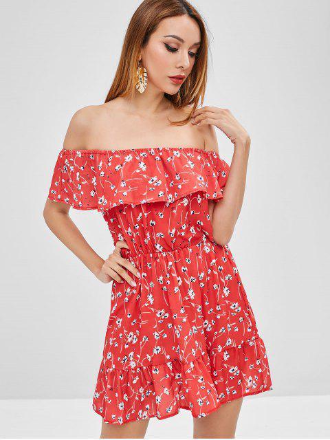 Vestido floral con hombros descubiertos y volantes - Rojo de Valentín XL Mobile