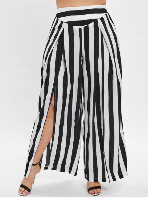 ZAFUL Pantalon Fendu Rayé à Jambe Large de Grande Taille - Noir 2X Mobile