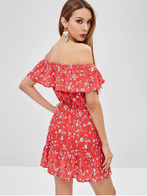 shops Ruffles Floral Off Shoulder Dress - VALENTINE RED XL Mobile