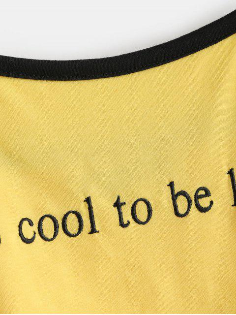 womens ZAFUL Letter Embroidered Crop Cami Top - SUN YELLOW M Mobile