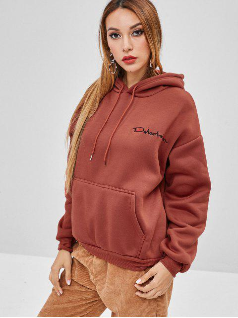 fancy Letter Embroidered Front Pocket Loose Hoodie - CHESTNUT RED M Mobile