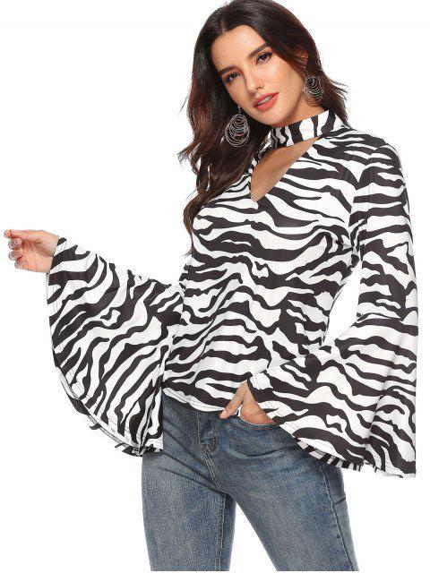 best Flare Sleeve Zebra Choker Tee - MULTI S Mobile