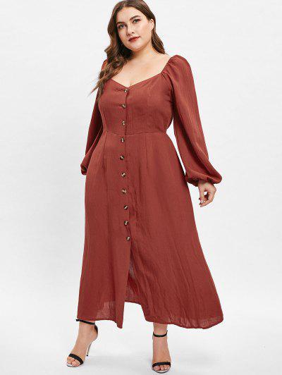 fdbc385bd0a2 ... Vestito Plus Size Con Maniche Lunghe E Colletto Di Cuore Di ZAFUL -  Rosso Mollissima 2x