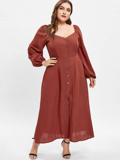 71a481100f2 ZAFUL Sweetheart Neck Plus Size Long Sleeve Dress - Chestnut Red 2x ...