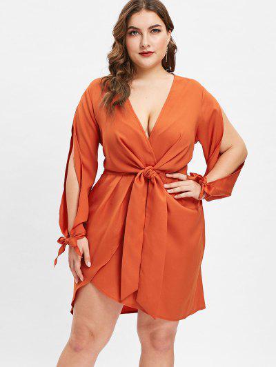 4a0d1523871f ZAFUL Plunge Plus Size Split Sleeve Tied Dress - Chocolate L ...