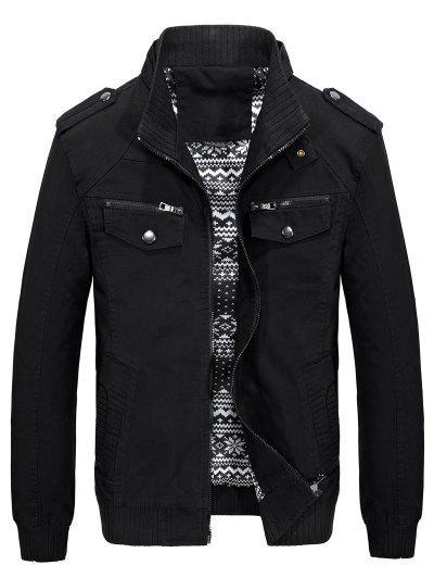 Belt Button Collar Pockets Jacket - Black M