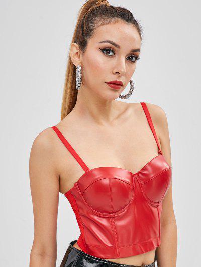 a69f22d68f PU Leather Hook Crop Top - Lava Red M