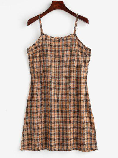 4105c655f2f Back Zipper Plaid Cami Dress - Multi L ...