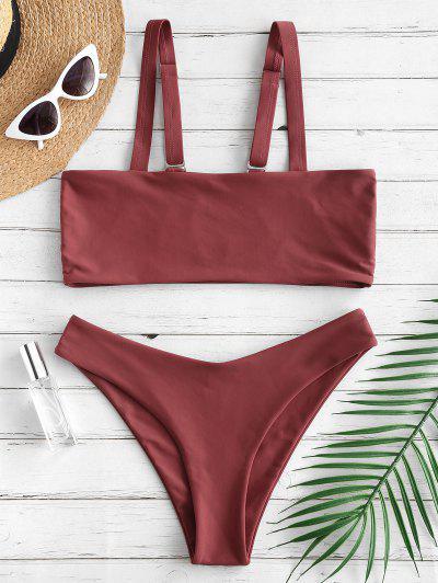 35225955a20 ZAFUL Square Neck Bralette Bikini Set - Chestnut L