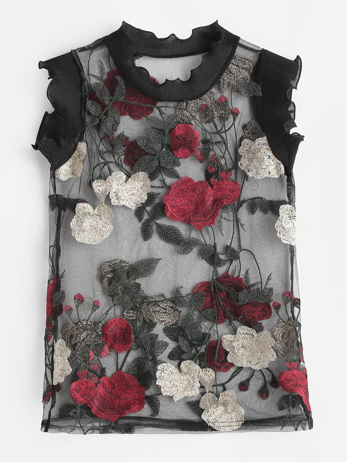 See Through Floral Embroidered Tank Top thumbnail