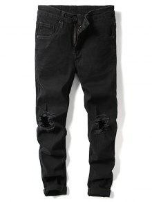 الصلبة اللون الركبة ممزق هول جينز عادية - أسود 38