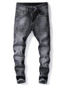 جينز بنمط ممزق من Side Fray بنطال جينز بقصة ضيقة - أسود 32