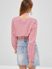 c9b579f88c185a 27% OFF  2019 Gingham Crop Top In RED