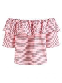355f5c8e33ed5 42% OFF  2019 Ruffle Striped Off The Shoulder Top In PIG PINK