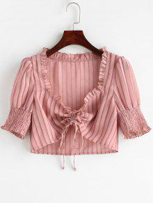 ZAFUL Shadow Striped Cinched Crop Blouse - زهري Xl