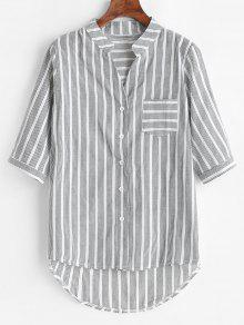 Stripes Pocket High Low Shirt - متعدد S
