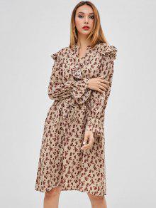 فستان بأكمام كشكش الأزهار - متعددة-a
