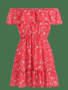 30% OFF  2019 Ruffles Floral Off Shoulder Dress In VALENTINE RED L ... 051a9bff4