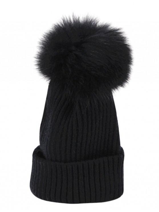 5cfb3022f85 2019 Fuzzy Ball Decoration Winter Knitted Beanie In BLACK