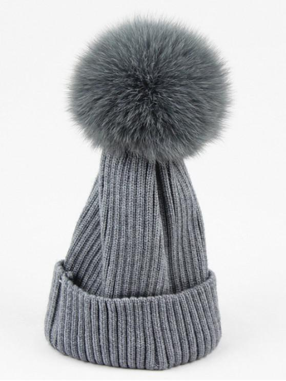 36a1293790f 2019 Fuzzy Ball Decoration Winter Knitted Beanie In GRAY