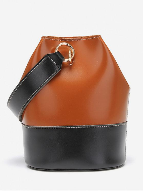 Color de moda empalmado decoración bolso - Marrón
