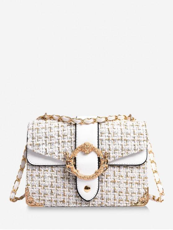 latest Woollen Square Shoulder Crossbody Bag - WHITE