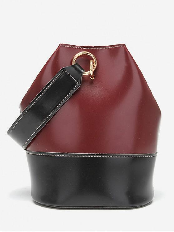 unique Fashionable Color Spliced Decoration HandBag - RED WINE